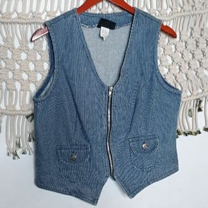 ♡Vintage pinstripe blue denim jean zip up vest